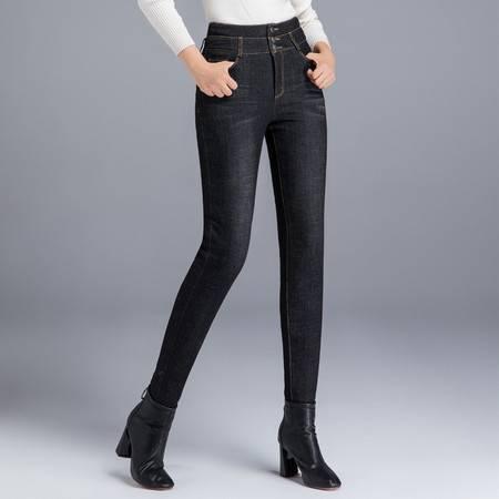 施悦名 牛仔羽绒裤女外穿弹力高腰三个扣加厚双面白鸭绒小脚棉裤A