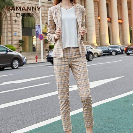 施悦名 格子西装外套女韩版2019秋季新款女装修身西服套装女A