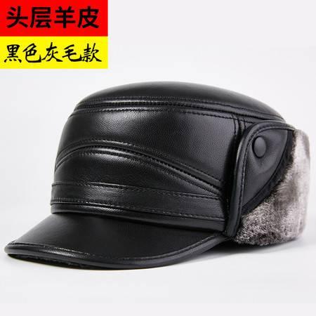 小童马  中老年人雷锋帽男士冬季加厚保暖户外护耳棉帽老人真皮帽子羊皮帽C