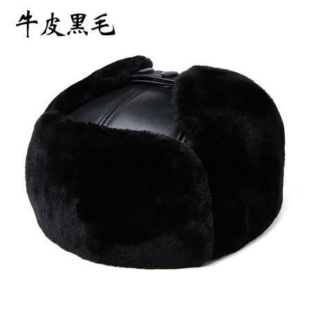 小童马  中老年人雷锋帽男士冬季加厚保暖户外护耳棉帽老人真皮牛皮羊皮帽C