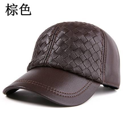 小童马  真皮帽子男青年羊皮女士棒球手工编织帽 鸭舌羊皮帽春秋冬皮帽子C