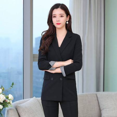 施悦名 2019秋装新款韩版纯色中长款双排扣修身休闲小西装外套女A