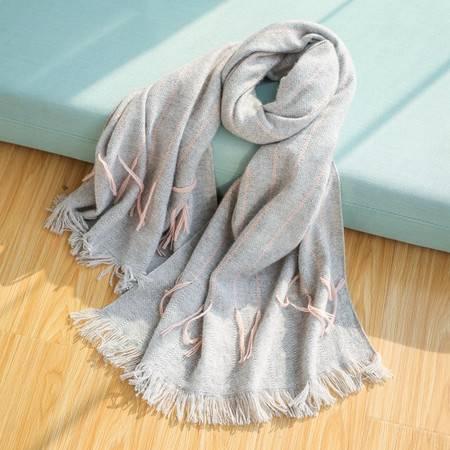 施悦名 纯色优雅女性流苏针织纯羊绒围巾 60X192CM 190克A