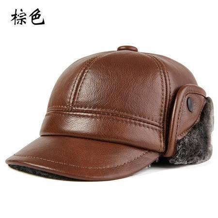 小童马  中老年人雷锋帽男士冬季加厚保暖户外护耳棉帽老人真皮帽子牛皮帽C