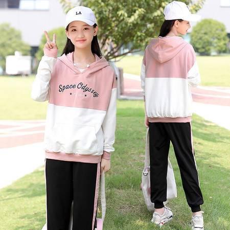 洋湖轩榭 2019秋季新款休闲运动套装女韩版甜美高中学生卫衣外套A