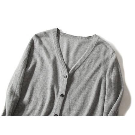 施悦名 多色可选100纯羊毛针织开衫2019秋冬新款加厚V领宽松韩版毛衣外套A
