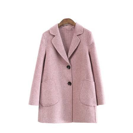 施悦名 秋冬双面呢羊绒大衣女短款宽松赫本风小个子羊毛呢子外套A