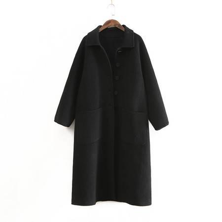 施悦名 纯色双面呢大衣秋女装新品翻领双口袋长款外套呢子大衣女A