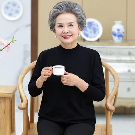洋湖轩榭 秋装新款中老年人女装春秋妈妈装长袖打底衫60岁70奶奶装百搭毛衣A