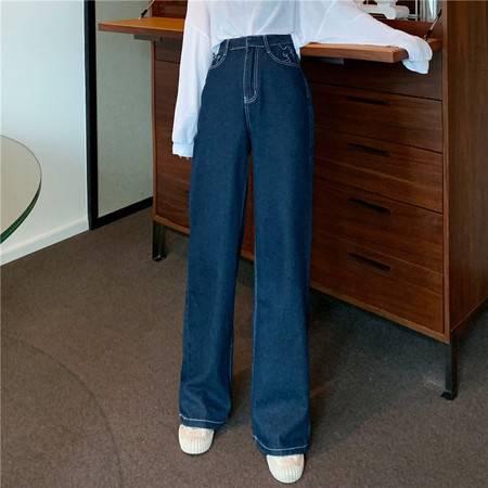 施悦名 2019新款韩版宽松明线高腰口袋刺绣直筒拖地垂感长款牛仔裤A