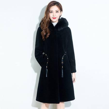 洋湖轩榭 外套女中长款连带帽中年妈妈秋冬装高贵大气皮毛一体仿羊剪绒大衣A
