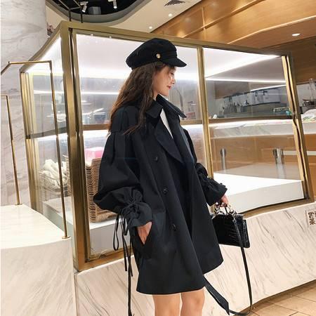 施悦名 卡其色短款风衣外套女2019秋季小个子薄款英伦风休闲大衣A