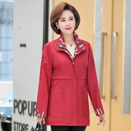 洋湖轩榭 妈妈秋装薄款外套洋气2019新款中老年女装40-50岁时尚风衣中长款A