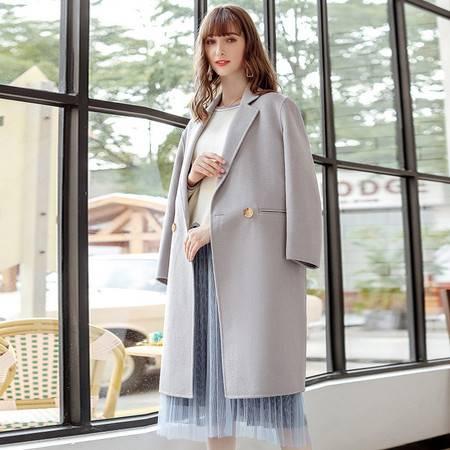 施悦名 2019秋冬新款女装纯色长款羊毛外套保暖双面尼女式大衣A