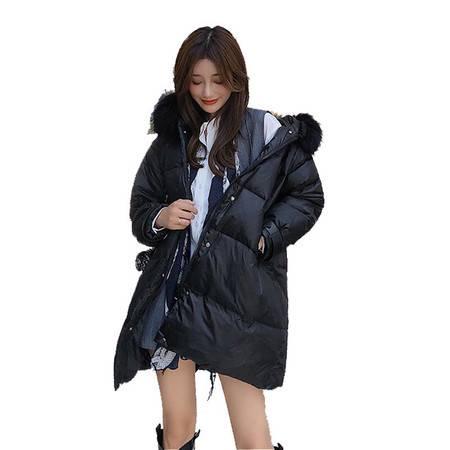 施悦名 冬季时尚白鸭绒羽绒服女装韩版2019新款潮流真毛领中长款外套A