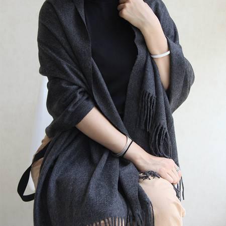 小童马   羊绒新宠纯山羊绒加厚流苏披肩水波纹女士羊绒披肩细腻C