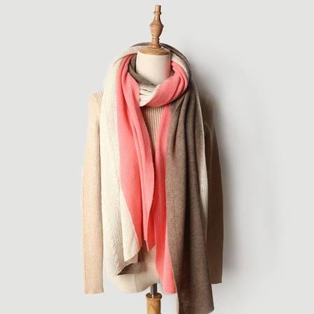 小童马  针织山羊绒围巾三色绞花粉色纯色单色羊毛大披肩秋冬季新款保暖C