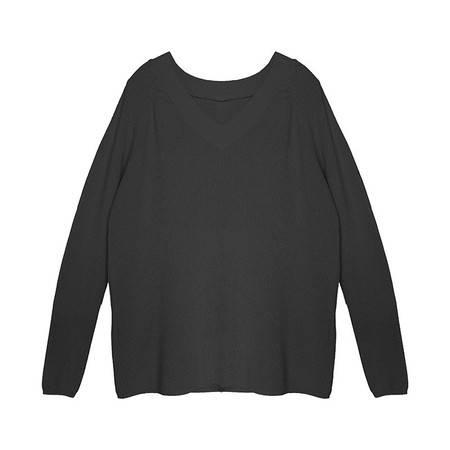 施悦名 纯色V领粗针上衣 19年秋季V领时尚针织衫 韩版纯色女士针织衫A