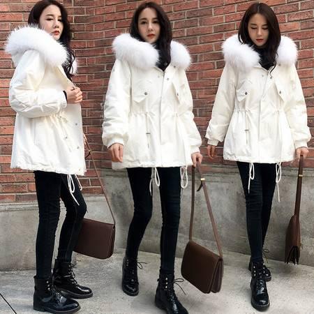施悦名 棉袄女2019新款外套冬女加厚毛领矮小个子中长款棉衣羽绒棉服A