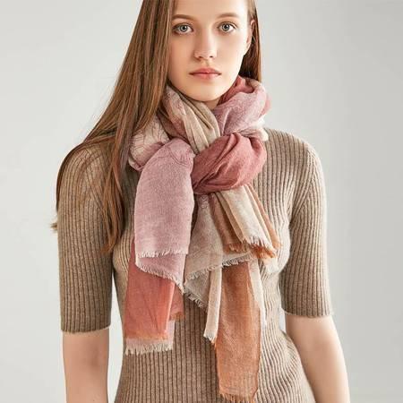 小童马  19年新款羊绒色织格子围巾印花防晒保暖多用戒指绒披肩大规格女C