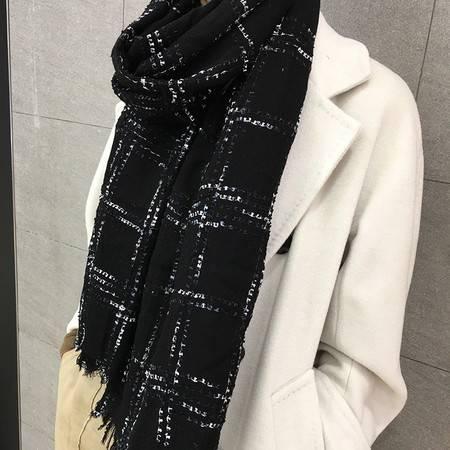 小童马  羊毛围巾水溶牙刷纱黑色披肩两用秋冬女新款C