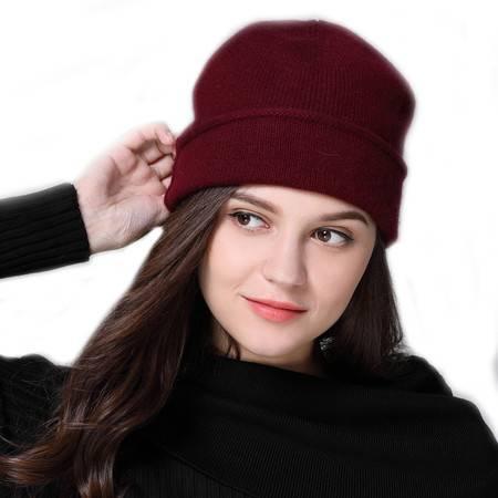 小童马  秋冬新款双层宽边加厚山羊绒帽子男女通用百搭保暖护耳帽C