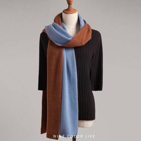 小童马  新款加厚山羊绒针织保暖双面双色围脖简约气质拼色围巾男女通用C