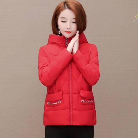 施悦名 2019冬季短款连帽棉衣女气质韩版长袖修身型大码加厚保暖羽绒棉服A