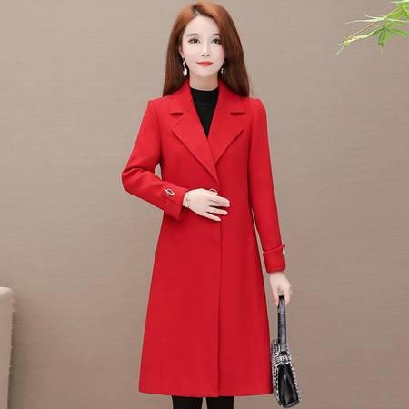 施悦名 风格款毛呢外套2019秋季OL气质韩版西装领修身型中长款女式外套潮A