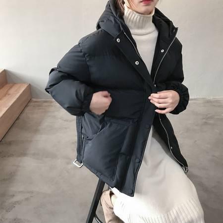 施悦名 2019冬季韩版宽松学生连帽棉衣外套女收腰保暖面包服A