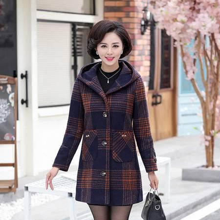 洋湖轩榭 时尚冬装新款洋气毛呢外套中老年女装40-50岁加绒加厚秋冬呢子女A