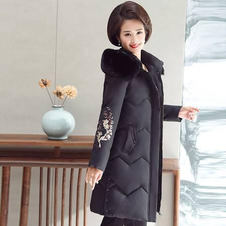 洋湖轩榭 冬季外套中老年装中长款女装羽绒棉连帽长袖拉链妈妈棉袄上衣绣花A