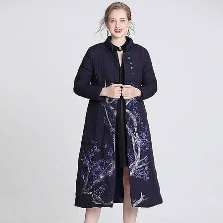 施悦名 2019冬季新款女装立领绣花气质单排扣中长款羽绒服女A