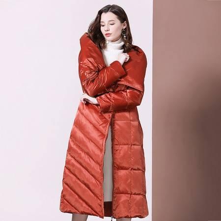施悦名 羽绒服女2019新款冬季时尚立领宽松加厚保暖白鸭绒中长款过膝外套A