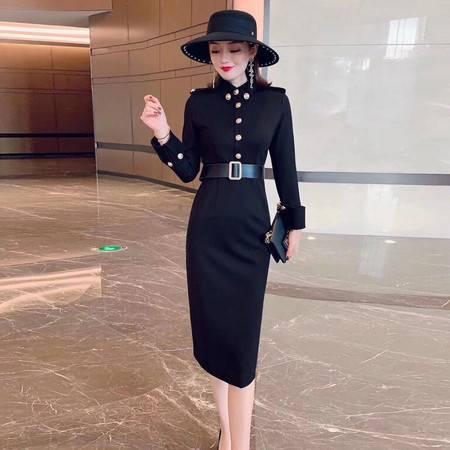 施悦名 休闲连衣裙女2019韩版女装冬季修身长袖中长款包臀一步裙A