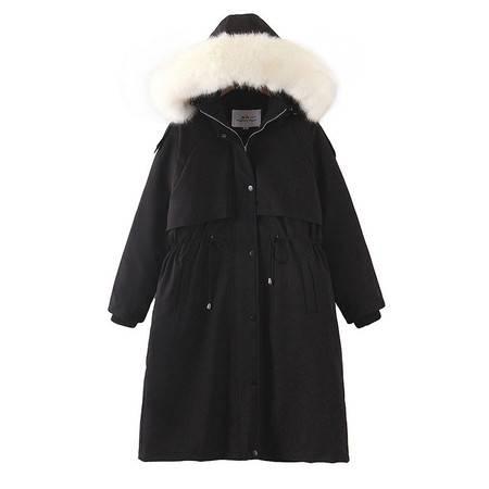 施悦名 棉服 2019冬季新款收腰抽绳工装风大毛领棉服大码女装外套A