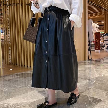 施悦名 大码半身裙 2019冬季新款大码女装高腰一排扣pu皮裙配腰带A
