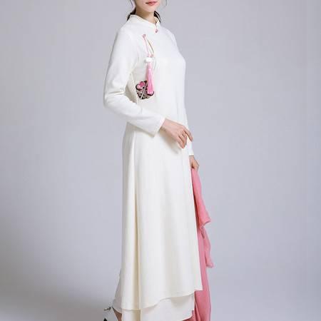 施悦名 新款中国风连衣裙A字裙白色弹力针织新中式改良旗袍禅服女装A