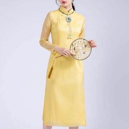 施悦名 2019秋季新款 修身显瘦奥黛改良旗袍 黄色立领中国风连衣裙A