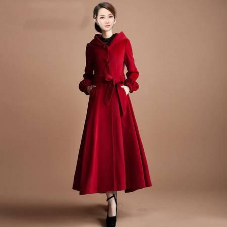 施悦名 秋冬新款学院女式修身外套红色羊毛大衣风衣A