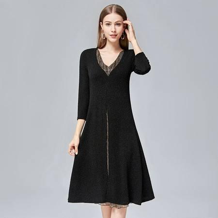 施悦名 女装韩版2019年中年时尚长袖裙子修身女式秋季连衣裙A