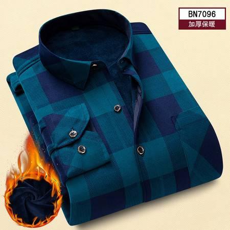 汤河之家  秋冬新款季男士加绒加厚保暖衬衫男长袖格子寸衫中年爸爸衬衣C