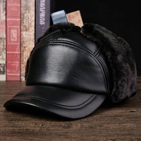 汤河之家  中老年人雷锋帽男士冬季加厚保暖户外护耳棉帽老人真皮帽子羊皮帽C