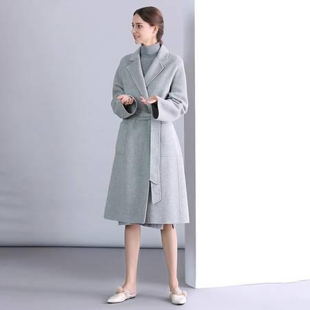 施悦名 2019秋冬新款双面羊绒大衣女韩版修身呢子羊毛外套中长款高端女装A