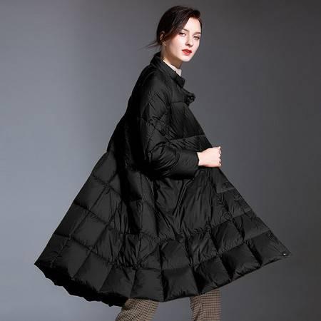 施悦名 羽绒服女2019新款 韩版小立领带围巾女式羽绒服中长款宽松A型外套A图片