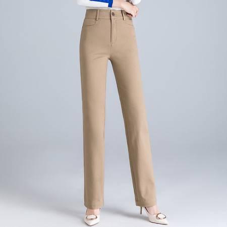 施悦名 春季新款 纯棉直筒裤现货高腰大码弹力女裤 直筒女长裤A图片