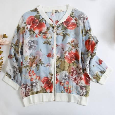 施悦名 气质印花薄款短外套女 韩版宽松棒球服空调衫2020夏款七分袖小衫a