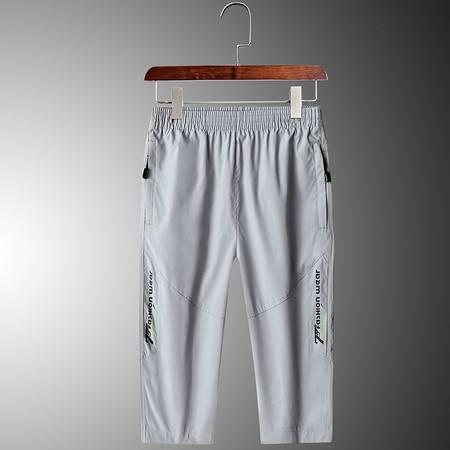 汤河之家 新款2020夏季运动薄款款男式休闲裤纯色四面弹七分裤时尚都市裤C