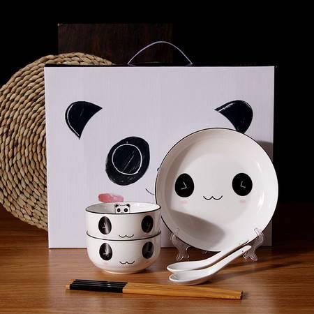 汤河店 黑线餐具小熊猫青花瓷碗套装礼盒装餐具套碗活动礼品碗筷a