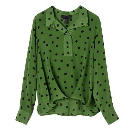 施悦名 翻领桑蚕丝上衣2020秋季新款气质绿波点真丝长袖气质衬衫女a